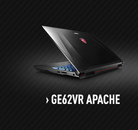 MSI GE62VR Apache Gaming Laptop with nVidia GTX 1060
